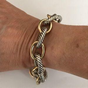 David Yurman Sterling & 18K XL oval link bracelet